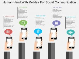Human Hand With Mobiles For Social Communication Flat Powerpoint Design