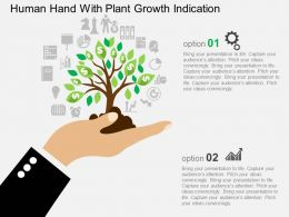 Human Hand With Plant Growth Indication Flat Powerpoint Design