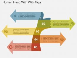 human_hand_with_tags_flat_powerpoint_design_Slide01