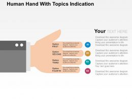 Human Hand With Topics Indication Flat Powerpoint Design