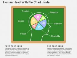 Human Head With Pie Chart Inside Flat Powerpoint Desgin