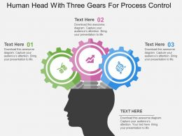Human Head With Three Gears For Process Control Flat Powerpoint Design