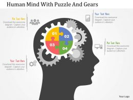 Human Mind With Puzzle And Gear Flat Powerpoint Designs