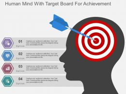 Human Mind With Target Board For Achievement Flat Powerpoint Design