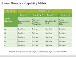 Human Resource Capability Matrix PowerPoint Ideas