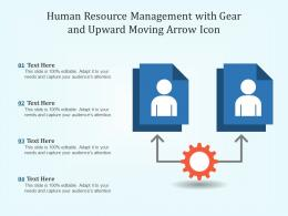Human Resource Management With Gear And Upward Moving Arrow Icon