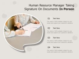 Human Resource Manager Taking Signature On Documents In Person