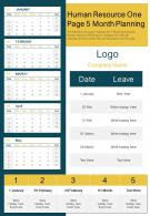 Human Resource One Page 5 Month Planning Presentation Report Infographic PPT PDF Document