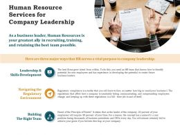 Human Resource Services For Company Leadership Ppt Powerpoint Layouts