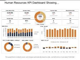 Human Resources Kpi Dashboard Showing Employment Status Turnover Rate