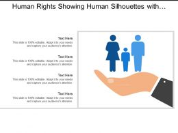 Human Rights Showing Human Silhouettes With Hand