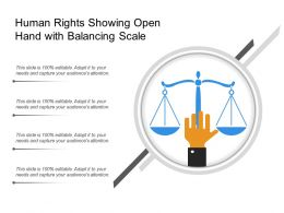 Human Rights Showing Open Hand With Balancing Scale
