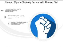 Human Rights Showing Protest With Human Fist