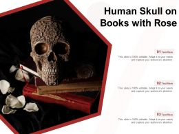 Human Skull On Books With Rose
