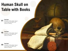 Human Skull On Table With Books