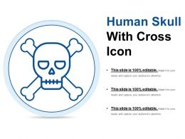 Human Skull With Cross Icon