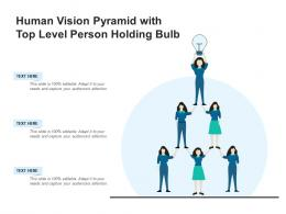 Human Vision Pyramid With Top Level Person Holding Bulb