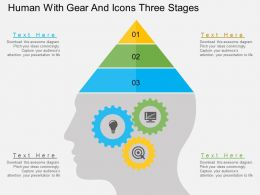 Human With Gear And Icons Three Stages Flat Powerpoint Design