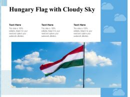 Hungary Flag With Cloudy Sky