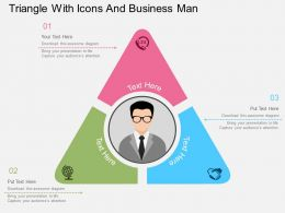 Hv Triangle With Icons And Business Man Flat Powerpoint Design