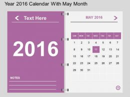 Hv Year 2016 Calendar With May Month Flat Powerpoint Design