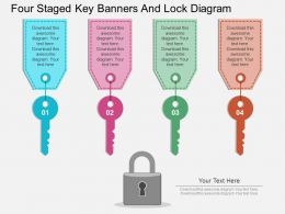 hw Four Staged Key Banners And Lock Diagram Flat Powerpoint Design