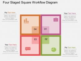 Hw Four Staged Square Workflow Diagram Flat Powerpoint Design