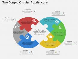 Hw Two Staged Circular Puzzle Icons Flat Powerpoint Design