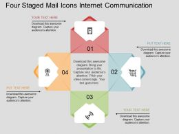 Hx Four Staged Mail Icons Internet Communication Flat Powerpoint Design