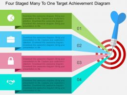hx Four Staged Many To One Target Achievement Diagram Flat Powerpoint Design
