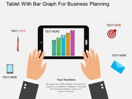 hx Tablet With Bar Graph For Business Planning Flat Powerpoint Design