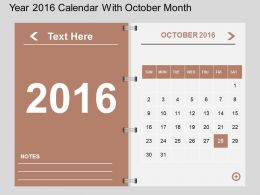 Hx Year 2016 Calendar With October Month Flat Powerpoint Design