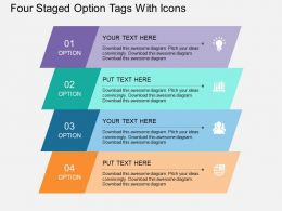 hy Four Staged Option Tags With Icons Flat Powerpoint Design