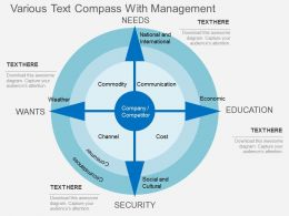 Hy Various Text Compass With Management Flat Powerpoint Design