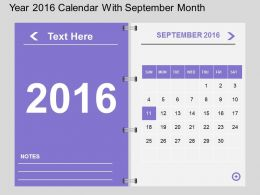 Hy Year 2016 Calendar With September Month Flat Powerpoint Design