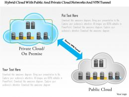 Hybrid Cloud With Public And Private Cloud Networks And Vpn Tunnel Ppt Slides