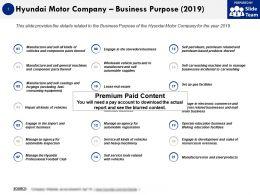 Hyundai Motor Company Business Purpose 2019