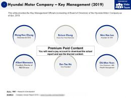 Hyundai Motor Company Key Management 2019