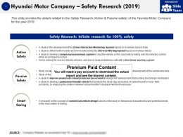 Hyundai Motor Company Safety Research 2019