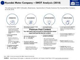 Hyundai Motor Company Swot Analysis 2018