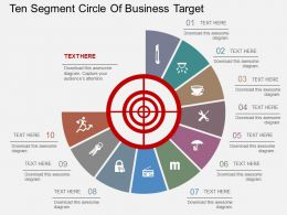 hz Ten Segment Circle Of Business Target Flat Powerpoint Design