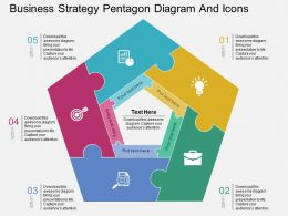ia Business Strategy Pentagon Diagram And Icons Flat Powerpoint Design