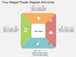 ia Four Staged Puzzle Diagram And Icons Flat Powerpoint Design