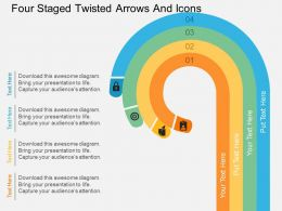 Ia Four Staged Twisted Arrows And Icons Flat Powerpoint Design