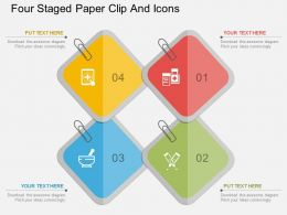 Ib Four Staged Paper Clip And Icons Flat Powerpoint Design