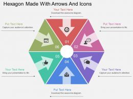 Ib Hexagon Made With Arrows And Icons Flat Powerpoint Design