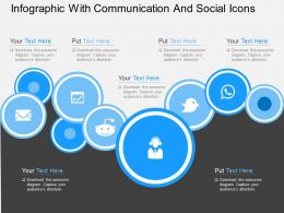 Ib Infographic With Communication And Social Icons Flat Powerpoint Design