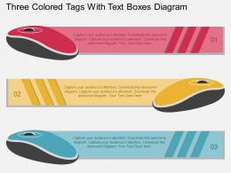 ib Three Colored Tags With Text Boxes Diagram Flat Powerpoint Design