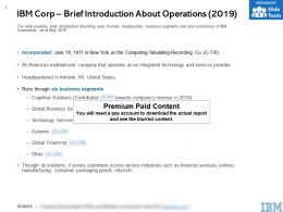 IBM Corp Brief Introduction About Operations 2019