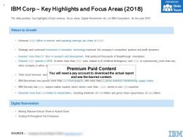 IBM Corp Key Highlights And Focus Areas 2018